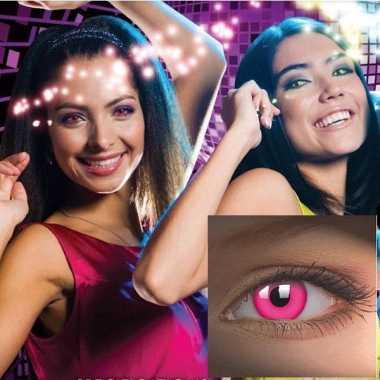 Carnaval roze kleur lenzen uv
